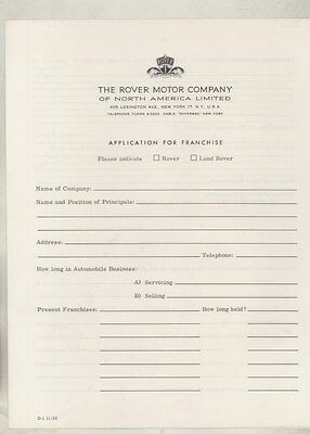1962 1963 Rover Land Rover US Franchise Application Brochure ww5303
