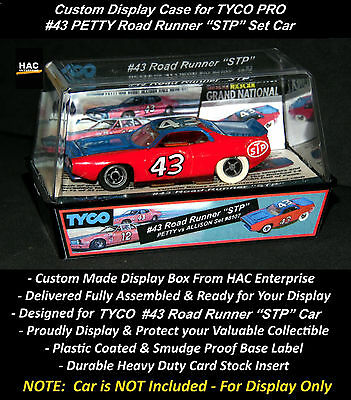 "Custom Display Case:  TYCO PRO #43 PETTY Road Runner ""STP""  (1976 Set Only Car)"