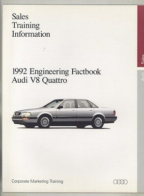 1992 Audi V8 Quattro Training Specifications US Saleman's Book Brochure ww3498