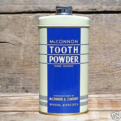 Vintage Original 1940s MCCONNON DENTIST TOOTH POWDER Art Deco Dental TIN Unused
