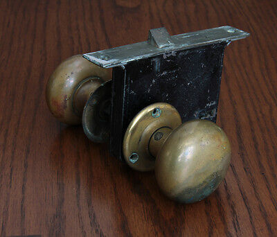 Antique Cast Brass Yale Door Knobs with Mortise Lock- Hardware