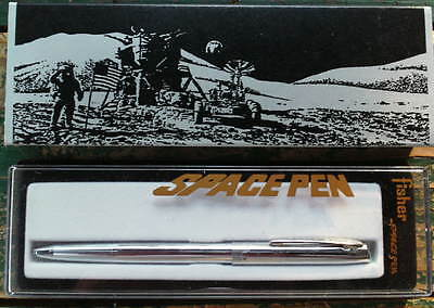 Vtg FISHER SPACE PEN&BOX Man on the Moon ASTRONAUT SPACE TRAVEL New Old Stock