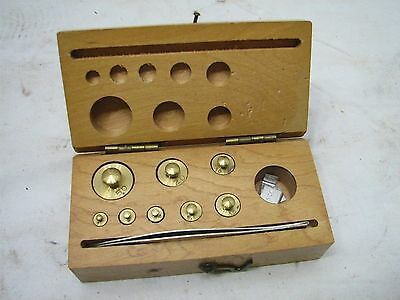 Antique Brass Apothecary Pharmaceutical Scale Gold Weights w/Wood Box A
