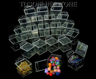 Pack of 100 Square Clear Plastic Storage Cubes 1.75 X 1.75 Inch