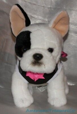 """Rare Toys R Us 12"""" Plush Beanie Realistic Dressed Up Boston Terrier Puppy Dog"""