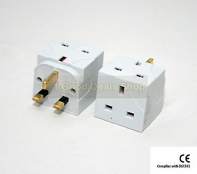 2X New 2 Way Fused Plug Multi Socket Extension Wall Adaptor Adapter 2 Gang White