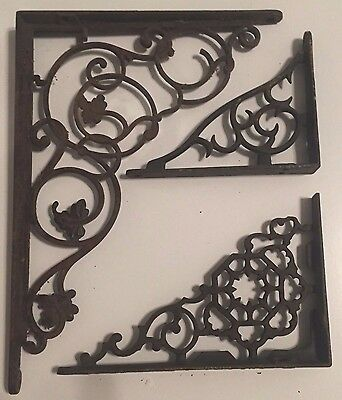 Vintage Ornate Shelf Brackets- Mismatched-See pics
