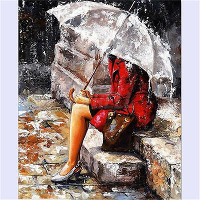 "16x20"" Umbrella Girl Paint By Number Digital Oil Painting Picture Print o Canvas"