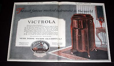 1919 Old Magazine Print Ad, Victor Victrola, The Most Famous In The World, Art!