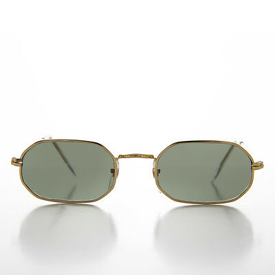 90s Mod Gold Hexagon Vintage Sunglass with Glass Lens - Williams