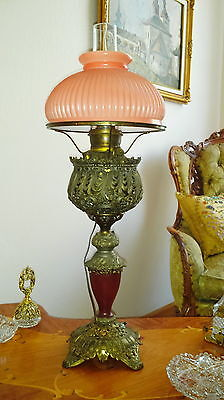 ANTIQUE CONVERTED 1880's PARLOR METAL OIL KEROSENE TABLE LAMP GLASS SHADE