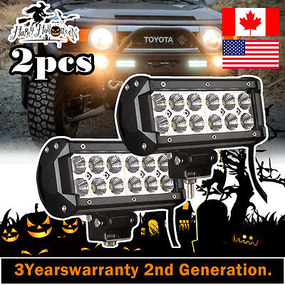 2X 36w 7inch Cree Led Work Light Bar Flood Offroad Driving 4WD Truck Jeep JK SUV