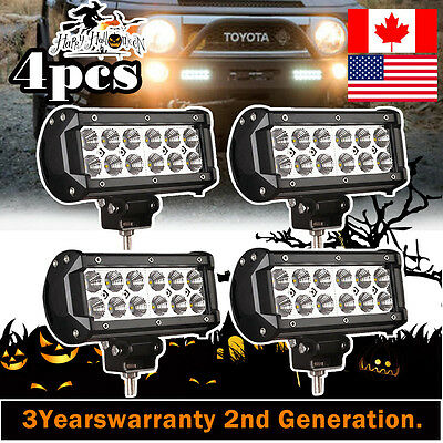 4X CREE 36W 7INCH Flood LED Light Bar Work Offroad Driving Lamp 4WD Boat SUV ATV