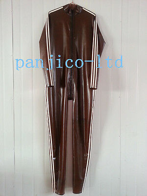 Latex Rubber Gummi Catsuit Tights Fashion Suit Coffee and White Size XS-XXL