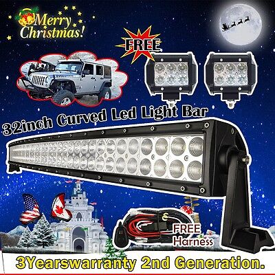 "32 inch Led Light Bar Curved 180w + 2x 4"" CREE Led Pods Truck Jeep Ford SUV 30"