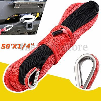 6mm x 15m Synthetic Winch Rope Cable 6400 LBs ATV SUV Recovery For Dyneema