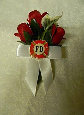 Wedding Party Ceremony Fireman Firefighter Maltese Charm Groom's Boutonniere
