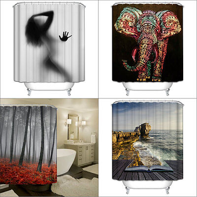 3D Waterproof Shower Curtain with 12 Hooks Mildewproof Shower Curtain Home Decor