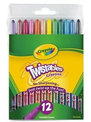 Crayola Twistable Coloured Crayons 12 Pack 52 7412 FREE POST