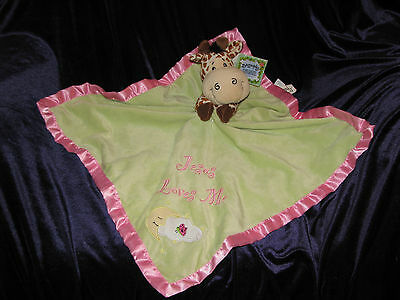 Bazooples Giraffe Security Blanket Lovey Baby Girl Jesus Loves Me Green Pink New