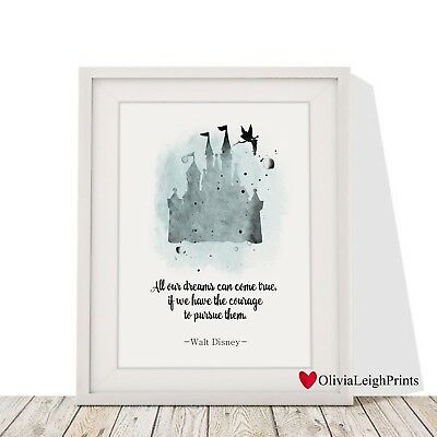 Disney Princess Castle Word Art Quote Watercolour Print-Wall Art-Gift-Nursery