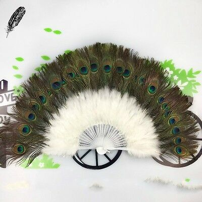Colourful Peacock Marabou Feather Hand Fan Belly Dance Woman Favor Vintage New