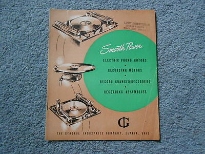 Rare 1946 General Industries Smooth Power Record Player Motors Brochure Original