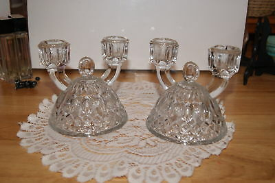 Vintage..set Of 2...glass Candle Stick Holders