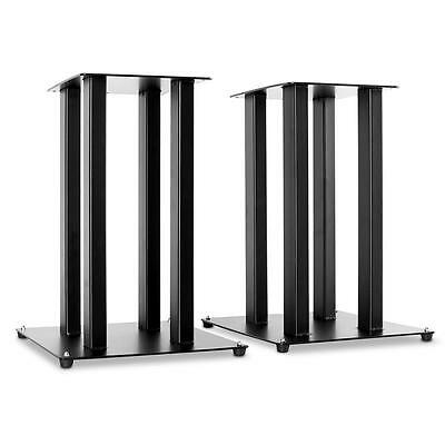New Pair Hifi Speaker Stands Black Metal Pillar Design *free P&p Special Offer