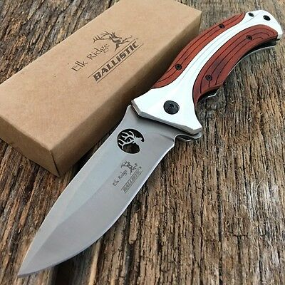 ELK RIDGE BALLISTIC Spring Assisted Open Folding Pocket Knife WOOD HANDLE New
