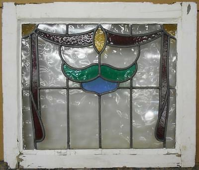 "MID SIZED OLD ENGLISH LEADED STAINED GLASS WINDOW Droop Design 24.5"" x 21"""