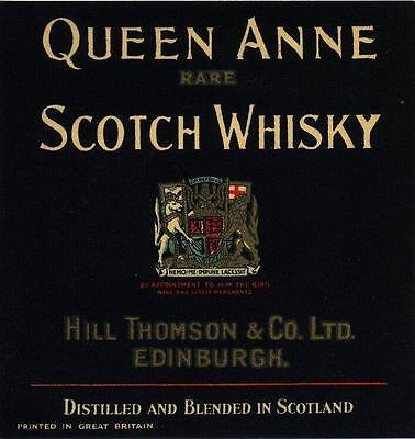 ORIGINAL 1930s LABEL  FOR QUEEN ANNE RARE SCOTCH WHISKYHILL THOMSON EDINBURGH