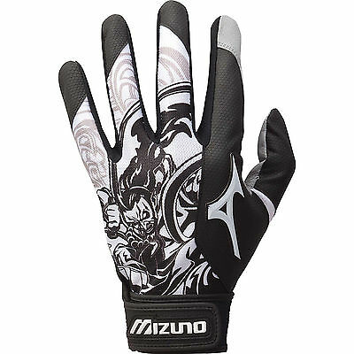 Mizuno Thunder Black Small Adult Mens Baseball/Softball Batting Gloves Pair