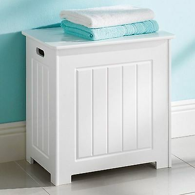 Laundry Basket Bathroom Bin White Hamper Clothes Storage Wooden Chest With Lid