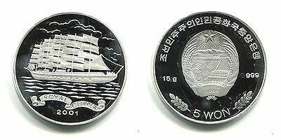 "5 Won Korea 2001 Proof Silber ""Royal Clipper"""