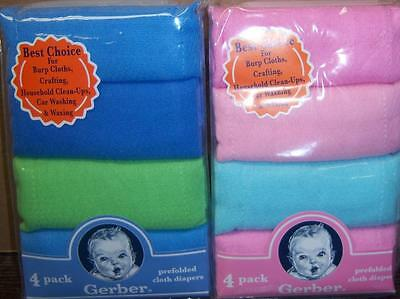 New Gerber 4 pk Prefolded Solid Cloth Diapers, Baby Shower, Burp cloth