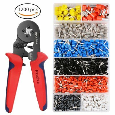 Pinza Crimpatrice da 0,25-10 mm + Kit Capicorda, Set da Elettricista con 1200pz