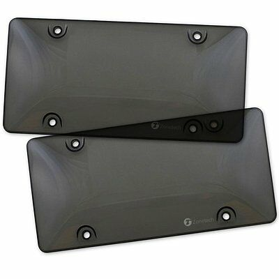 Zone Tech 2x Bubble Tinted- Smoke License Plate Tag Frame Cover Shield Car Truck
