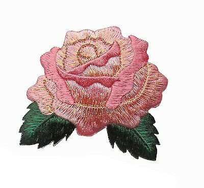 "#4524  2 5/8"" Pink Rose Flower Embroidery Iron On Applique Patch"