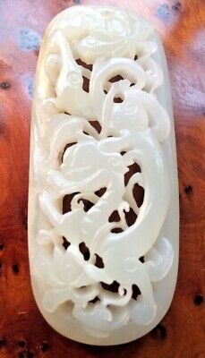 C13th Antique Chinese Yuan Pierced Carved Jade Plaque Dragon Imperial Art Ming