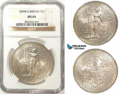 ZM180, Great Britain for Asia, Trade Dollar 1899-B, Bombay, Silver, NGC MS64