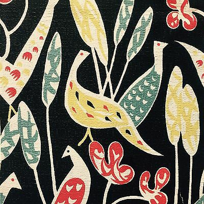 vtg 50's bird fabric retro DIY wall art sylvia chalmers Lucienne Day era