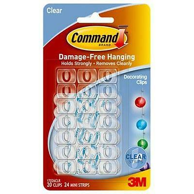 NEW Command Clear Light or Decorating Clips - 20 Hooks - 24 Strips 3M17026CLR