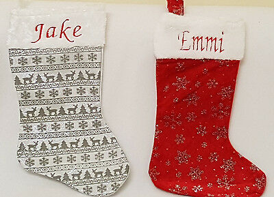Personalised embroidered christmas santa gift stocking sack xmas Red or white