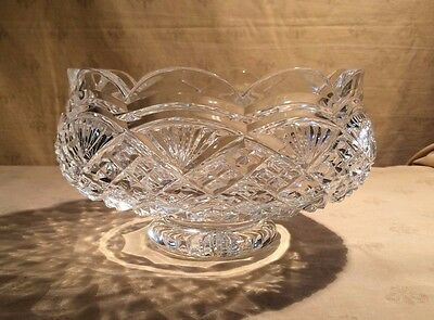 """Waterford Crystal Heavily Cut Pedestal Centerpiece Bowl 7 3/4"""""""