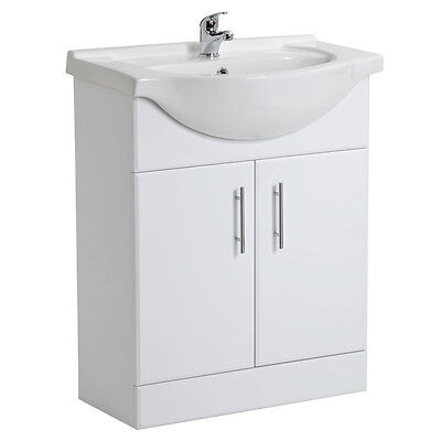 High Gloss White Vanity Unit with Ceramic Basin 550mm wide + Tap & Waste