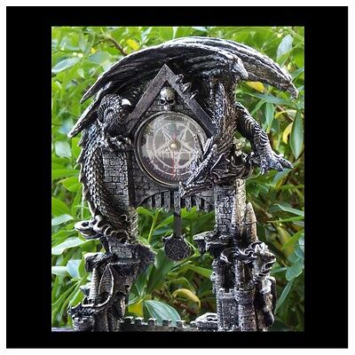 33Cm Black Dragon On Castle Clock - Brand New - Fantasy/gothic Giftware