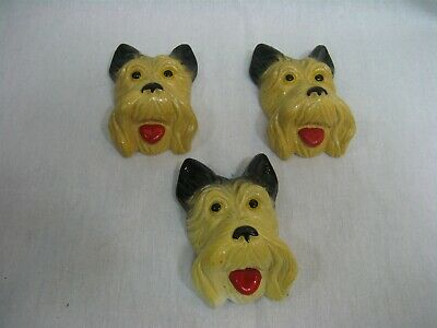 Vintage Chalkware Scottie Dog Wall Plaques Set of Three (3)