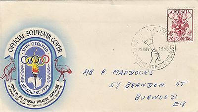 Stamp 1956 Olympic Games 4d on souvenir cover Melbourne Airport torch postmark
