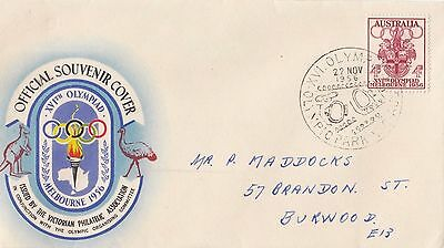 Stamp 1956 Olympic Games 4d on souvenir cover Olympic Park grounds postmark